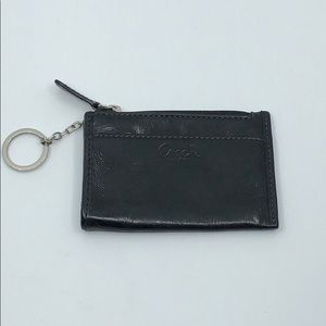 Coach Black Patent Leather Coin Holder Keychain